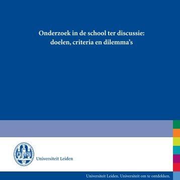 Onderzoek in de school ter discussie: doelen, criteria en dilemma's
