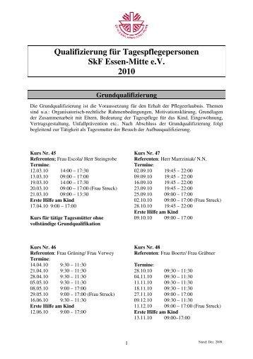 Qualifizierung für Tagespflegepersonen SkF Essen-Mitte e.V. 2010