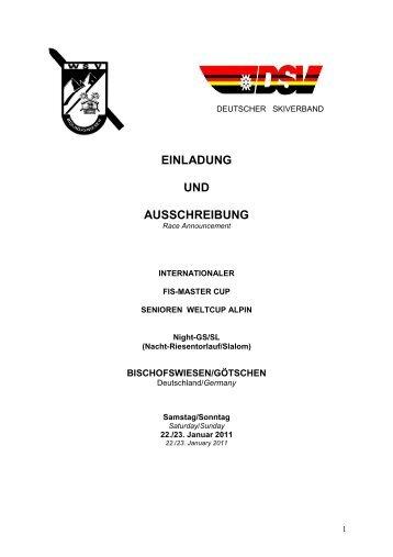Ausschreibung Bischofswiesen - Skiclub Schweitenkirchen
