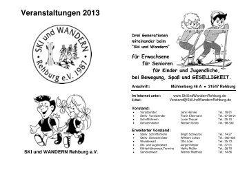Veranstaltungen 2013 - SKI und WANDERN REHBURG eV