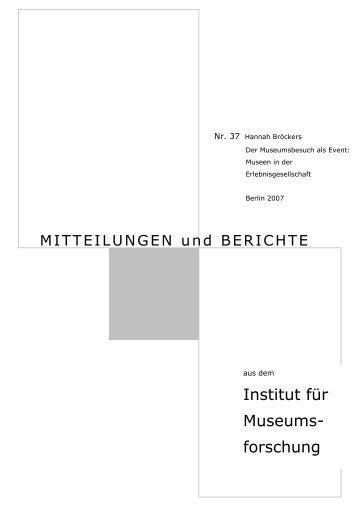 Institut für Museums- forschung - Staatliche Museen zu Berlin