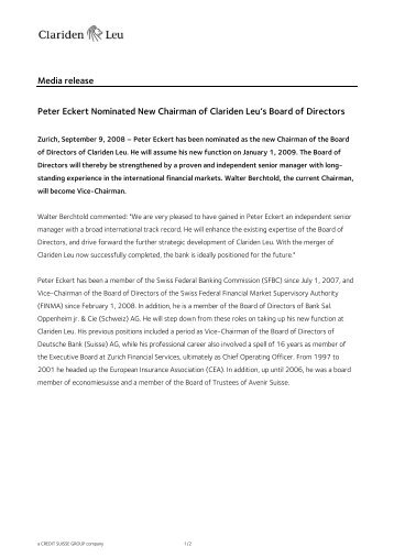 Media release Peter Eckert Nominated New Chairman of Clariden ...