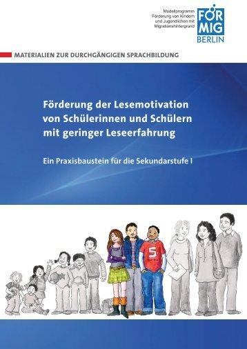 Ein Praxisbaustein Für Die Sekundarstufe I - FörMig Berlin