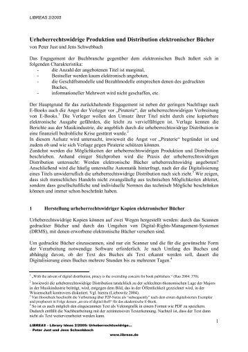 Urheberrechtswidrige Produktion und Distribution ... - E-LIS
