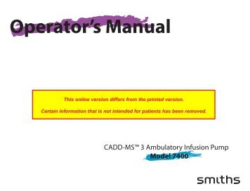 Operator's Manual - Smiths Medical