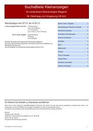 SucheBiete Kleinanzeigen-Magazin Oberhaag - Kostenlose ...