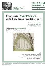 Preisträger   Award Winners Jutta Cuny-Franz Foundation 2013