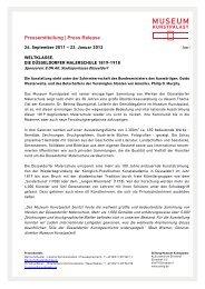 Pressemitteilung   Press Release - Museum Kunstpalast