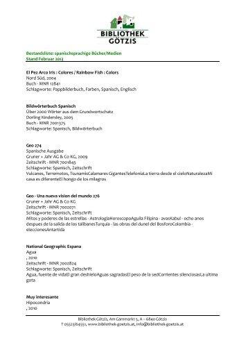 Bestandsliste: spanischsprachige Bücher/Medien Stand Februar ...