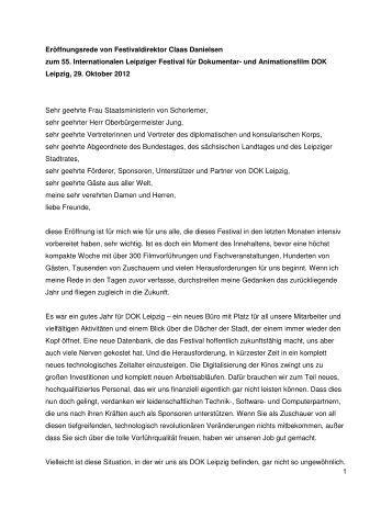 Eröffnungsrede von Festivaldirektor Claas Danielsen ... - DOK Leipzig