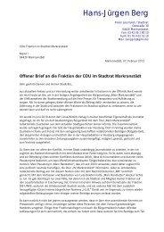 Offenen Brief an die CDU-Fraktion - Pro-Markranstädt