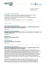 Ausgabe 84, 10. November 2009 Der Newsletter DEMOS informiert ...