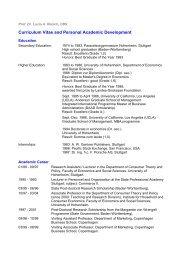 Curriculum Vitae and Personal Academic Development - CBS