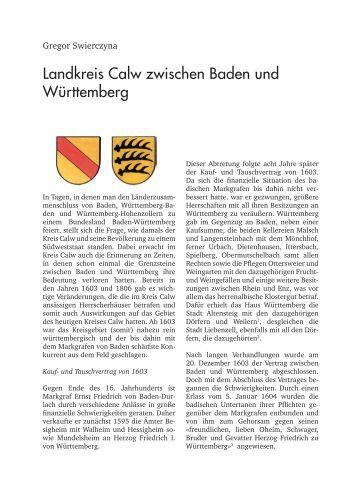 Landkreis Calw zwischen Baden und Württemberg