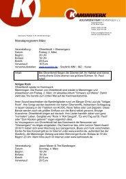 Kaminwerk Programm März - Lokale Zeitung Memmingen