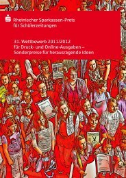 Infoflyer Rheinischer Sparkassen-Preis für Schülerzeitungen