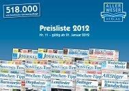 Preisliste 2012 - Aller-Weser-Verlag