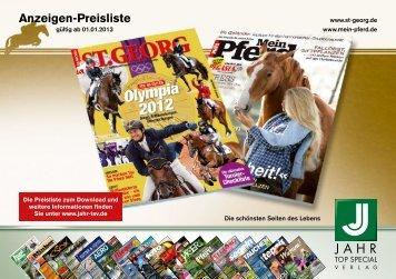 Anzeigenpreisliste 2013 - Jahr Top Special Verlag