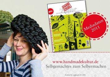 www.handmadekultur.de Selbgemachtes zum Selbermachen