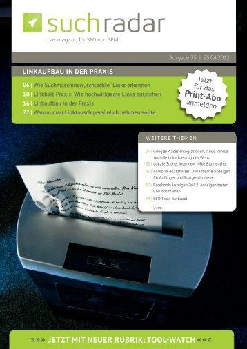 Suchradar Ausagbe 35 - Werbeagentur und Webdesign Blog