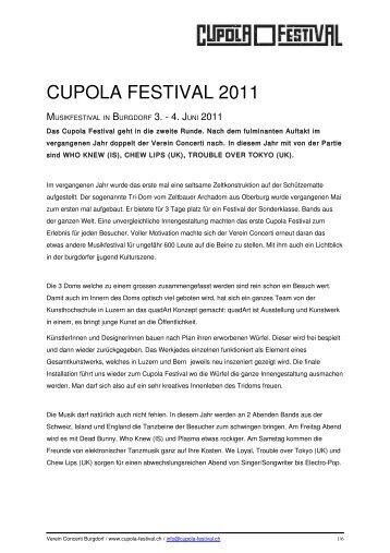 Programmübersicht Cupola Festival 2011