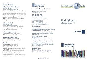 Info-Flyer: Die UB stellt sich vor - Universitätsbibliothek der Freien ...