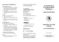 Faltblatt zur Zweigbibliothek - Universitätsbibliothek der HU Berlin ...