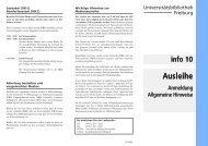 info 10 | Ausleihe | Anmeldung / Allgemeine Hinweise