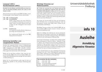 info 10   Ausleihe   Anmeldung / Allgemeine Hinweise