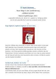 Hörbuchlesen Empfehlungen 2011 (Sarah Hartmann)