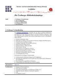 Die Freiburger Bibliothekskataloge - Université de Fribourg