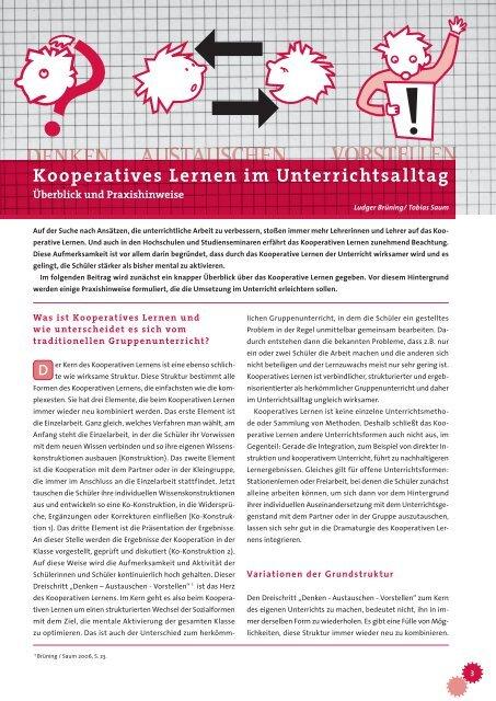 Kooperatives Lernen im Unterrichtsalltag