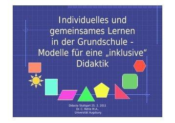 Individuelles und gemeinsames Lernen in der Grundschule - Modelle ...