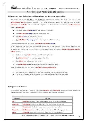 Adjektive und Partizipien als Nomen - Mein Deutschbuch