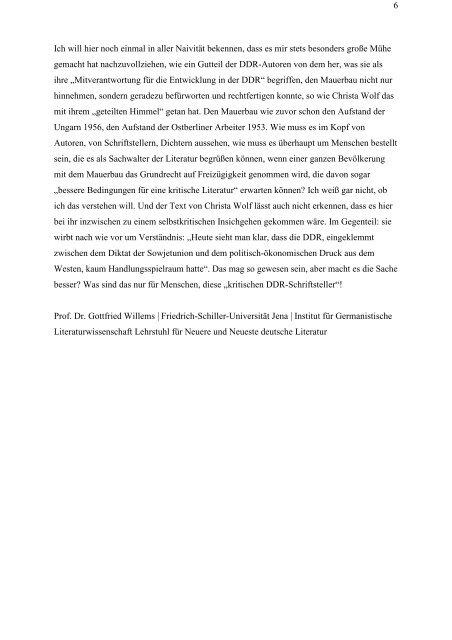Nachdenken über Christa W. - Geschichtswerkstatt Jena eV