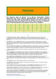 Hypnose und Hypnotherapie / Hypnose-Verzeichnis - Therapeuten in