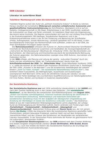 DDR-Literatur Literatur im autoritären Staat - Kerber-Net