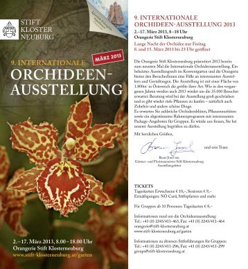 orchideen- ausstellung 9. internationale - Stift Klosterneuburg