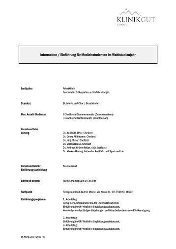 Orientierung für Medizinstudenten im ... - Klinik Gut St. Moritz