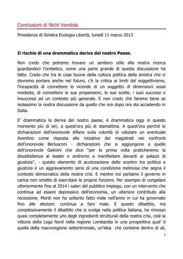 Conclusioni di Nichi Vendola