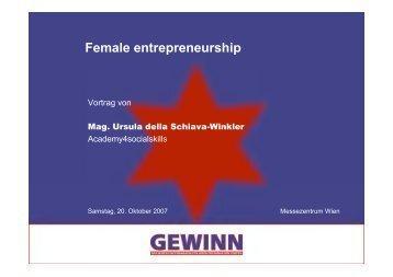 Vortrag GewinnFemale Entrepreneurship - Academy4socialskills