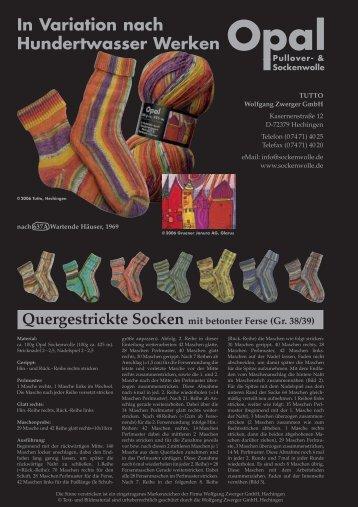 Quergestrickte Socken Strickanleitung - Tutto