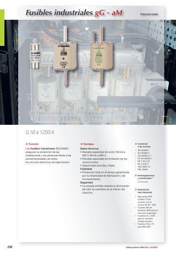 Fusibles industriales gG - aM - Socomec