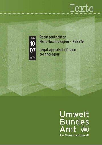 ReNaTe Legal appraisal of nano technologies - sofia