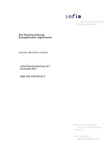 Die Rechtsstellung Europäischer Agenturen - sofia