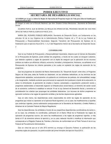 PODER EJECUTIVO SECRETARIA DE DESARROLLO SOCIAL
