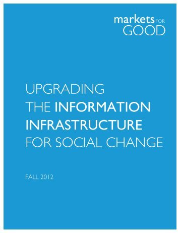 UPGRADING THE INFORMATION INFRASTRUCTURE FOR SOCIAL CHANGE