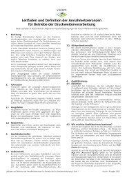 Leitfaden und Definition der Annahmetoleranzen für Betriebe der ...