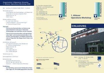 1. Ahlener Operations-Workshop - St. Franziskus-Hospital Ahlen