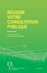 RÉUSSIR VOTRE CONSULTATION PUBLIQUE